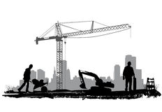 Construction. Workers silhouette  illustration vector Royalty Free Stock Image