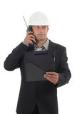 Construction. Manager with mobile radio Royalty Free Stock Image