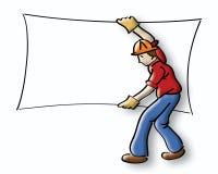 Construction. Logo cartoon construction worker carrying drywall