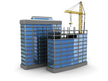 Construction. 3d illustration of modern building construction over white background Royalty Free Stock Photography
