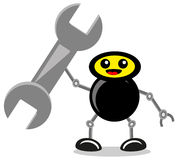 Construction. Illustration of construction icon with wrench in robot hand Stock Photos