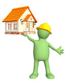 Construction. Builder - puppet, holding in hands house. Isolated over white Royalty Free Stock Images