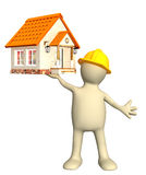 Construction. Builder - puppet, holding in hands house. Isolated over white Royalty Free Stock Photography