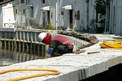 Construction. Worker on the working side Stock Image