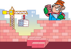 Construction. The illustration shows the construction of the building and as a working man who puts a brick wall. In the background view of the city and crane Stock Image