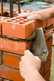 Construction. Site. Bricks laying outdoors Stock Photo