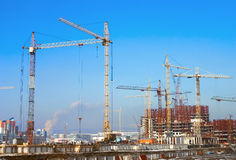 Construction. Bookmark of the base under construction of new houses Stock Photos