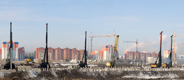 Construction. Bookmark of the base under construction of new houses Royalty Free Stock Photography