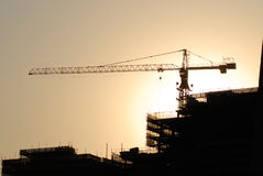 Construction. Tower with the sun Royalty Free Stock Photography