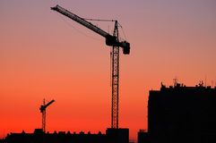 Construction. Site - cranes at dawn Stock Images