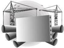 Construction. Background from a concrete plate and elevating cranes in a vector Royalty Free Stock Photography