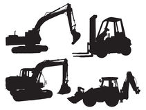 Construction. Four silhouette construction and farming machines Stock Images