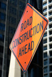 Construction. Road construction ahead sign downtown Royalty Free Stock Photography