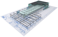 Construction. Isometric view the skeleton of an industrial building on architect?s drawing Royalty Free Stock Photos