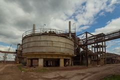 Abandoned chemical factory. The construction in abandoned chemical factory Zorka, Sabac, Serbia stock photography