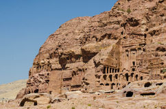 Construction of the abandoned city of Petra. In Jordan Royalty Free Stock Photo