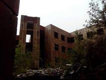 Construction abandonnée envahie avec des buissons sur le fond photos stock