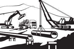 Construction of above ground pipeline Royalty Free Stock Images