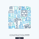 Construction abstract background, integrated thin line symbols. Royalty Free Stock Images