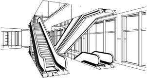 Construction abstraite avec le vecteur d'escalator Photographie stock