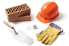 Construction Accessories on White Stock Photography