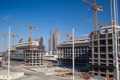 Construction activity in Dubai downtown. Royalty Free Stock Images