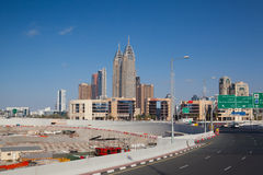 Construction activity in Dubai downtown. Stock Images