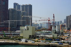 Construction activity in Hong Kong downtown Stock Photography