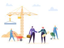 Construction Agreement Handshake Vector Illustration. Business Manager and Engineer have Building Partnership Contract vector illustration