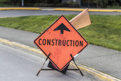 Construction Ahead Sign. An orange construction ahead sign stock photos