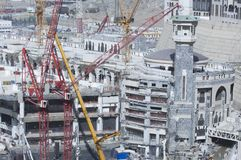 Construction of Al-Masjid Al-Haram Around Al Kaaba. In Mecca, Saudi Arabia stock photography