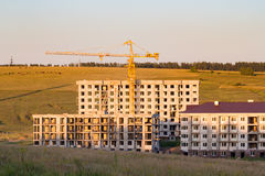 Construction of apartment buildings in the country Stock Image