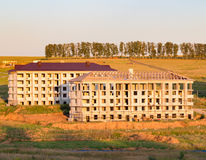 Construction of apartment buildings in the country Stock Photo