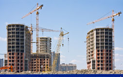 Construction of apartment buildings Stock Images