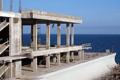 Construction of apartment buildings on the sea coast. New building stock images