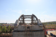 Construction of arch bridge. The construction of arch bridge Stock Photography