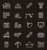Construction and architecture icons. Collection of icons related to architecture and construction, white, isolated on dark background Royalty Free Stock Images