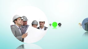 Construction and architecture montage with copy space screens Stock Image