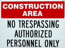 Construction Area. No trespassing sign in construction area royalty free stock photos