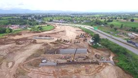 Construction Area Aerial View. stock footage