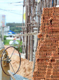 Construction area with bricks sand rocks and woods Stock Images