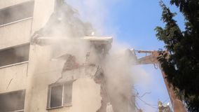 Construction area destroying building stock video