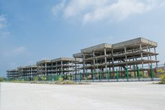 Construction area with multi-storey buildings. Located at the tropical island Maamigili royalty free stock photo