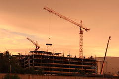 Construction area of new shopping malls. Stock Image