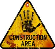 Construction area sign,. Web site under contruction, grungy style, vector illustration Royalty Free Stock Photography
