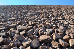 Construction Area, Stone Slope Of Water Dam Stock Photography