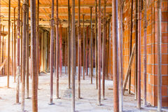 Construction of artifact in brick and cement. On site contruction Stock Photos