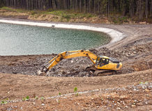 Construction of an artificial lake in Bukovel Stock Photography