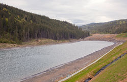 Construction of an artificial lake in Bukovel Stock Image