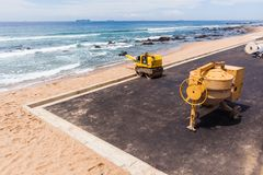 Construction Asphalt Beach Car Park Ocean Stock Images